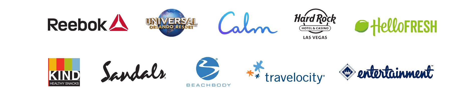 Samsung partnerships: Reebox, Universal Orlando Resort, Calm, Hard Rock Hotel & Casino, HelloFresh, KIND, Sandals, Beachbody, Travelocity, entertainment