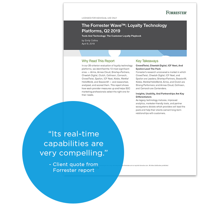"Cover of The Forrester Wave™: Loyalty Technology Platforms, Q2 2019 with client quote: ""Its real-time capabilities are very compelling."""